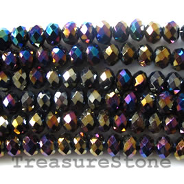 Bead, crystal, black AB, 4x6mm rondelle, 16-inch