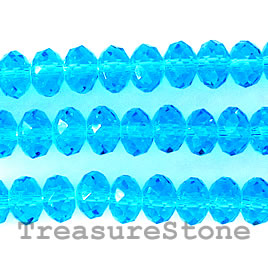 Bead, crystal, blue, 4x6mm rondelle, 16-inch