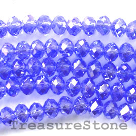 Bead, crystal, blue AB, 4x6mm rondelle, 16-inch