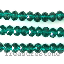 Bead, crystal, emerald, 5x8mm rondelle,16-inch