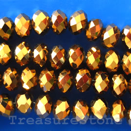Bead, crystal, gold, 5x8mm rondelle,16-inch