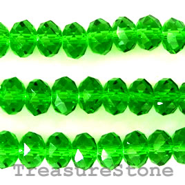 Bead, crystal, green, 5x8mm rondelle, 16-inch strand