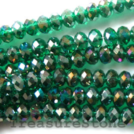 Bead, crystal, green AB, 4x6mm rondelle,16 inch