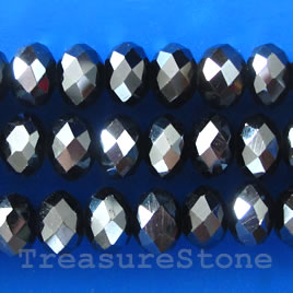 Bead, crystal, hematite, 5x8mm rondelle,16- inch