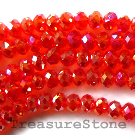 Bead, crystal, orange AB, 4x6mm rondelle,16 inch