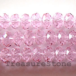 Bead, crystal, pink, 5x8mm rondelle,15-inch strand