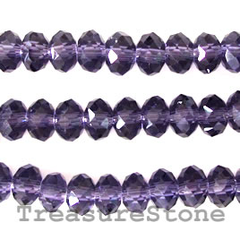 Bead, crystal, purple, 5x8mm rondelle,15.5-inch
