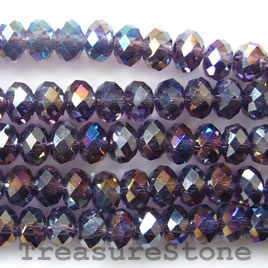 Bead, crystal, purple AB, 4x6mm rondelle,16 inch