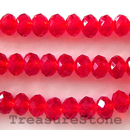 Bead, crystal, red, 5x8mm rondelle,16 inch