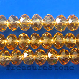 Bead, crystal, topaz, 5x8mm rondelle,16 inch