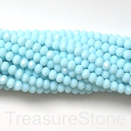 Bead, crystal, baby blue, 6x8mm rondelle, 17-inch, 70pcs