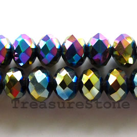 Bead, crystal, black AB2X, 6x8 faceted rondelle. 17-inch strand