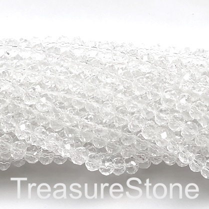 Bead, crystal, clear, 8x10 faceted rondelle. 10.5 inch, 35pcs
