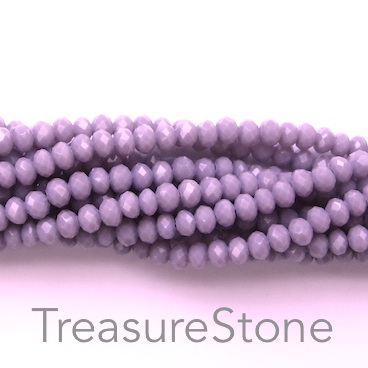 Bead, crystal, light purple, 2x3mm faceted rondelle. 15 inch