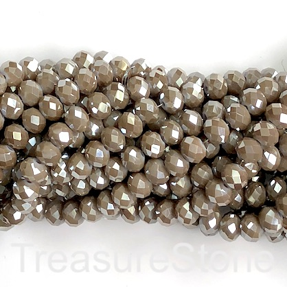 "Bead, crystal, smoky grey,silver shine,6x8mm rondelle,16"", 65pcs"
