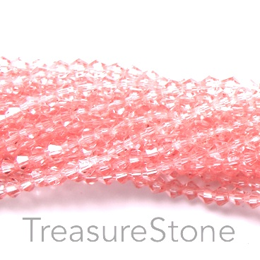 Bead, crystal, sprayed on, rose peach, 4mm bicone. 17-inch