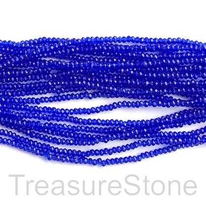Bead, crystal, royal blue transparent, 1.5x2mm rondelle. 12.5""