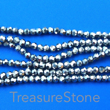 Bead, crystal, black, 3mm faceted Round. 22-inch strand