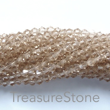 Bead, crystal, smoky quartz, 4mm bicone, 18- inch