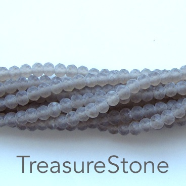 Bead, crystal, smoky quartz, matt, 3x4mm rondelle, 18-inch