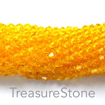 Bead, crystal, sunflower, 4mm bicone. 18-inch strand
