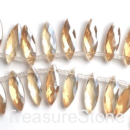 Bead, crystal, 10x30mm faceted top-drilled, champagne. 3pcs