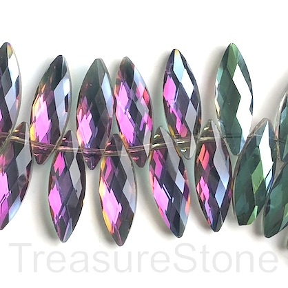 Bead, crystal, 10x30mm faceted top-drilled, fuschia, green. 3pcs
