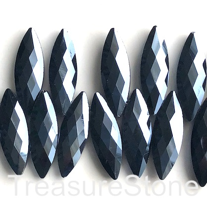 Bead, crystal, 10x30mm faceted top-drilled, hematite. 3pcs