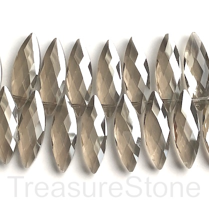 Bead, crystal, 10x30mm faceted top-drilled, smoky quartz. 3pcs