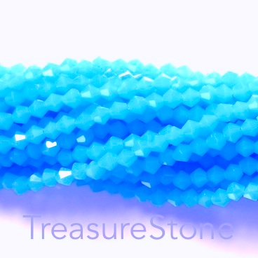 Bead, crystal, turquoise blue, 4mm bicone. 17-inch strand
