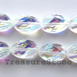 Beads, crystal, clear AB,faceted twisted,Grade B, 13x20mm, 20pcs