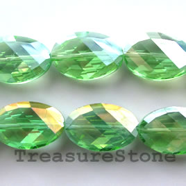 Crystal faceted twisted oval, Green AB, 13x20mm, 20pcs