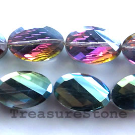 Crystal faceted twisted oval, purple AB, 13x20mm, 20pcs