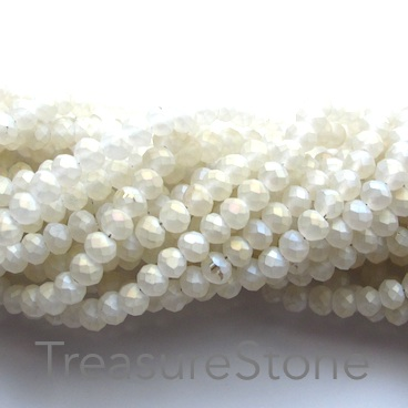 Bead, crystal, white, matte with gold, 3x4mm rondelle, 19-inch
