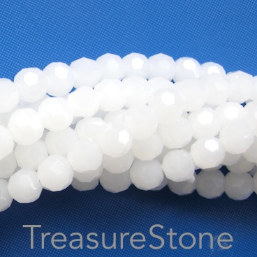Bead, crystal, white jade, 6mm round, 22 inch