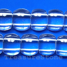 Bead, crystal Quartz, 14x18x6mm double-drilled. 16 inch strand.