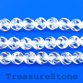 Bead, crystal quartz, 8mm carved round, grade A. 16-inch strand.