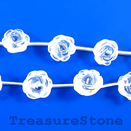 Bead, crystal quartz, 12mm carved rose. 18pcs.