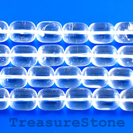 Bead, crystal quartz, 10x14mm Drum, A grade. 16-inch strand.