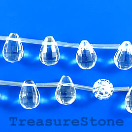 Bead, crystal quartz, 10x14mm faceted briolette. 24pcs