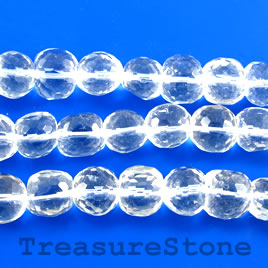 Bead, crystal quartz, 12mm faceted nugget. 15.5-inch strand.
