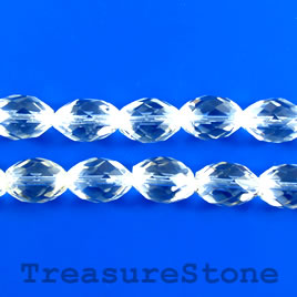 Bead, crystal quartz, 10x14mm faceted oval. 16 inch.