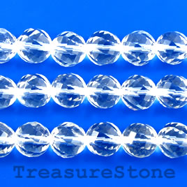 Bead, crystal quartz, grade A, 12mm faceted round. 15-inch