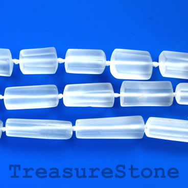 Bead, crystal quartz, faceted tube, about 9x20, matt. 15.5-inch