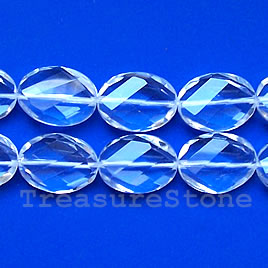Bead, crystal quartz, 18x25mm faceted twisted oval. 16-inch.