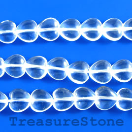 Bead, crystal quartz, 8mm heart. 15.5-inch strand.