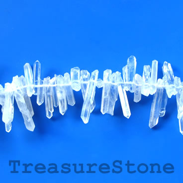 Bead, crystal quartz, about 4x20mm top-drilled stick. 15 inch.