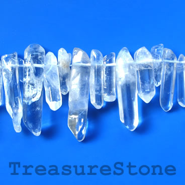 Bead, crystal quartz, about 8x30mm top-drilled stick. 16 inch.