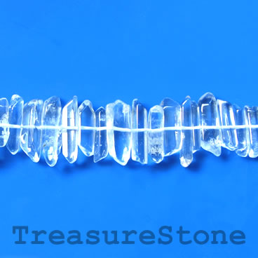 Bead, crystal quartz, about 5x20mm cente-drilled stick. 16 inch.