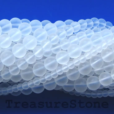 Bead, synthetic crystal quartz, 8mm round, matt.15.5-inch, 53pcs